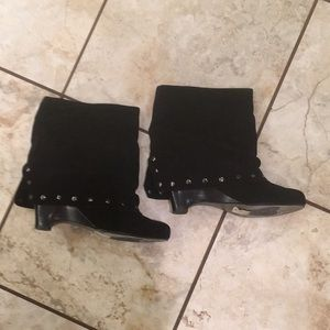 Black suade booties size 8